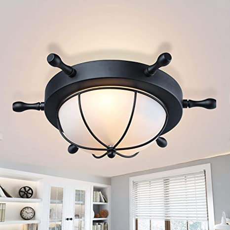 LNC A03196 Flush Mount Ceiling Light Farmhouse Nautical Style with Black  Finish and Frosted Glass, for Bedroom and Hallway