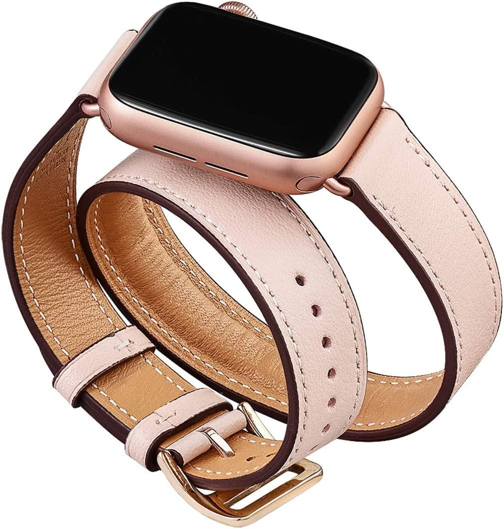 OMIU Band Compatible for Apple Watch 38mm 40mm 42mm 44mm, Leather Double Tour Smart Watch Wristband Compatible for Women Men IWatch Series 5/4/3/2/1 (Pink Sand/Rose Gold Connector, 38mm 40mm)