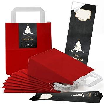 25 rojas Decoración navideña Asa bolsas de papel Bolsa de ...