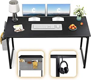 "CubiCubi Computer Desk 63"" Study Writing Table for Home Office, Modern Simple Style PC Desk, Black Metal Frame, Black"