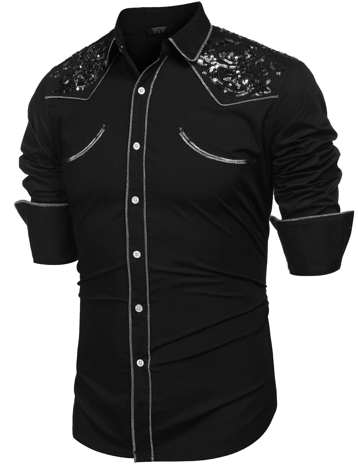 Zantt Mens Shirt Long Sleeve Button Down Embroidery Slim Dress Shirts