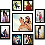 Khatu Crafts Synthetic Fiber Photo Frames for Walls Decoration (Black) -Set of 9