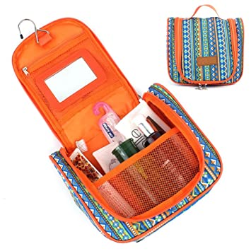 b1484f29bdc6 Women Makeup Bags Toiletry Case for Travel Bohemia Blue/Orange ...