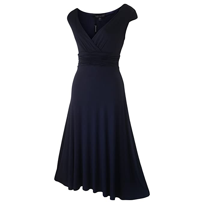 Classic de manga corta noche fiesta formal vestido tamaños 8 – 22 Azul azul marino 36