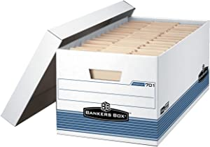 Bankers Box Legal Size File Storage Box with Lid, 15 x 10 x 24 in, Holds 700 lb, White and Blue, Pack of 12