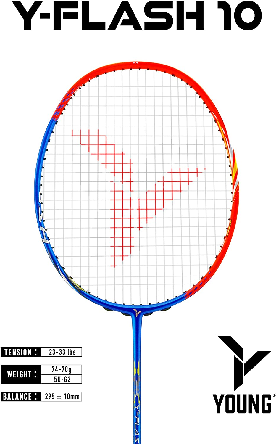 Lightweight 78-82g Yang Yang Rambo 0.68mm ONE Piece High Modulus 24-Ton Graphite Carrying Bag Strung 24-lb Head Light 5U NO T-Joint Young Passion Professional Badminton Racket