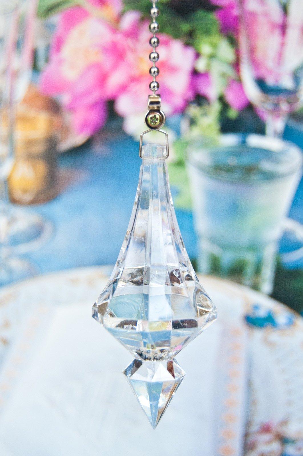 2 of Acrylic Crystal Spear Ceiling Lighting Fan Pulls-clear