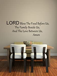 "Imprinted Designs Lord Bless This Food Vinyl Wall Decal Sticker Art (8"" H X 23"" W)"