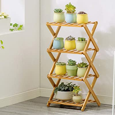 LRW Non Installation Flower Stand Solid Wood Indoor Four-Layer Folding Flower Stand Balcony Living Room Plant Flower Stand (Size : S): Garden & Outdoor