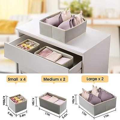 8pc Drawer Divider Bins Closet Dresser Storage Organizer Foldable Fabric Boxes