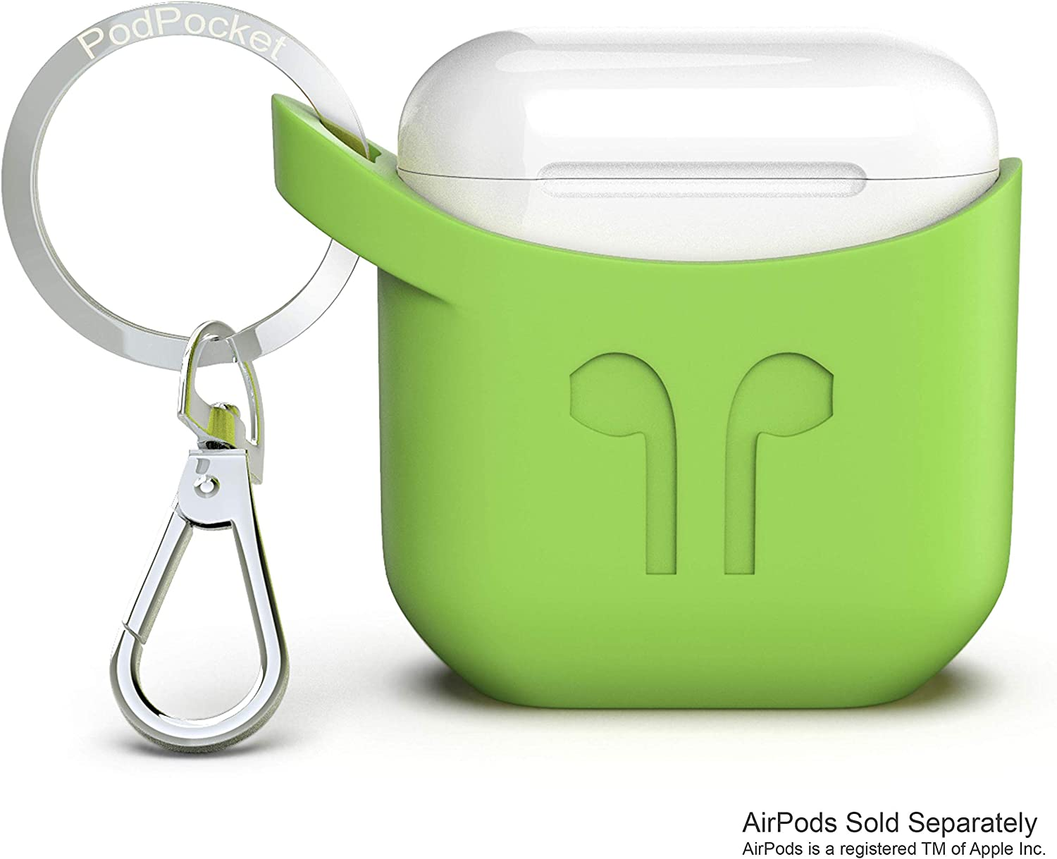 Apple Airpod Keychain Carrying Case by PodPocket |Best Reviewed Premium Silicone & Protective Case Cover/Skin| Slides Easily into Pocket and Has Open Bottom for Charging -(Pear Green)