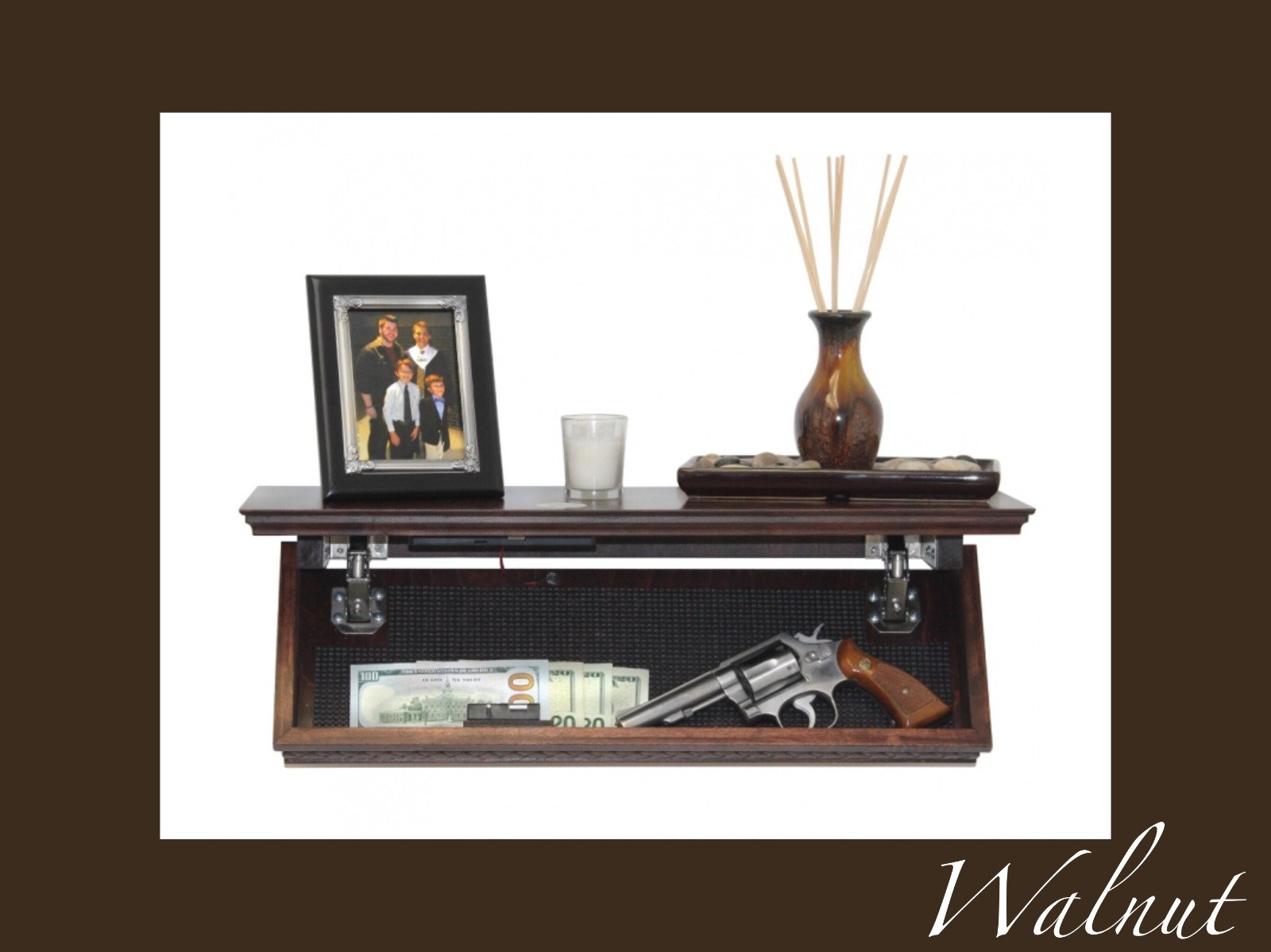 Quick Safes Walnut Quick Shelf See Video Hidden Wall Safe RDIF Locks Made in USA