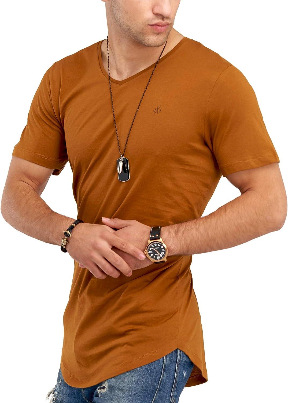 JACK /& JONES Herren T-Shirt Kurzarmshirt Oversize Longshirt Basic V-Neck