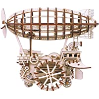 ROBOTIME 3D Puzzle Wooden Craft Kit-Mechanical Model Building Kits--Gear Drive Moving Kit Airship