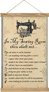 Hanging Poster Colorful Wall Art Painting in My Sewing Room Thou Shalt Not.Sewing Machine Printed On Linen Canvas,with Scroll Teak Wood Hanger for Home Decoration Wall Decor