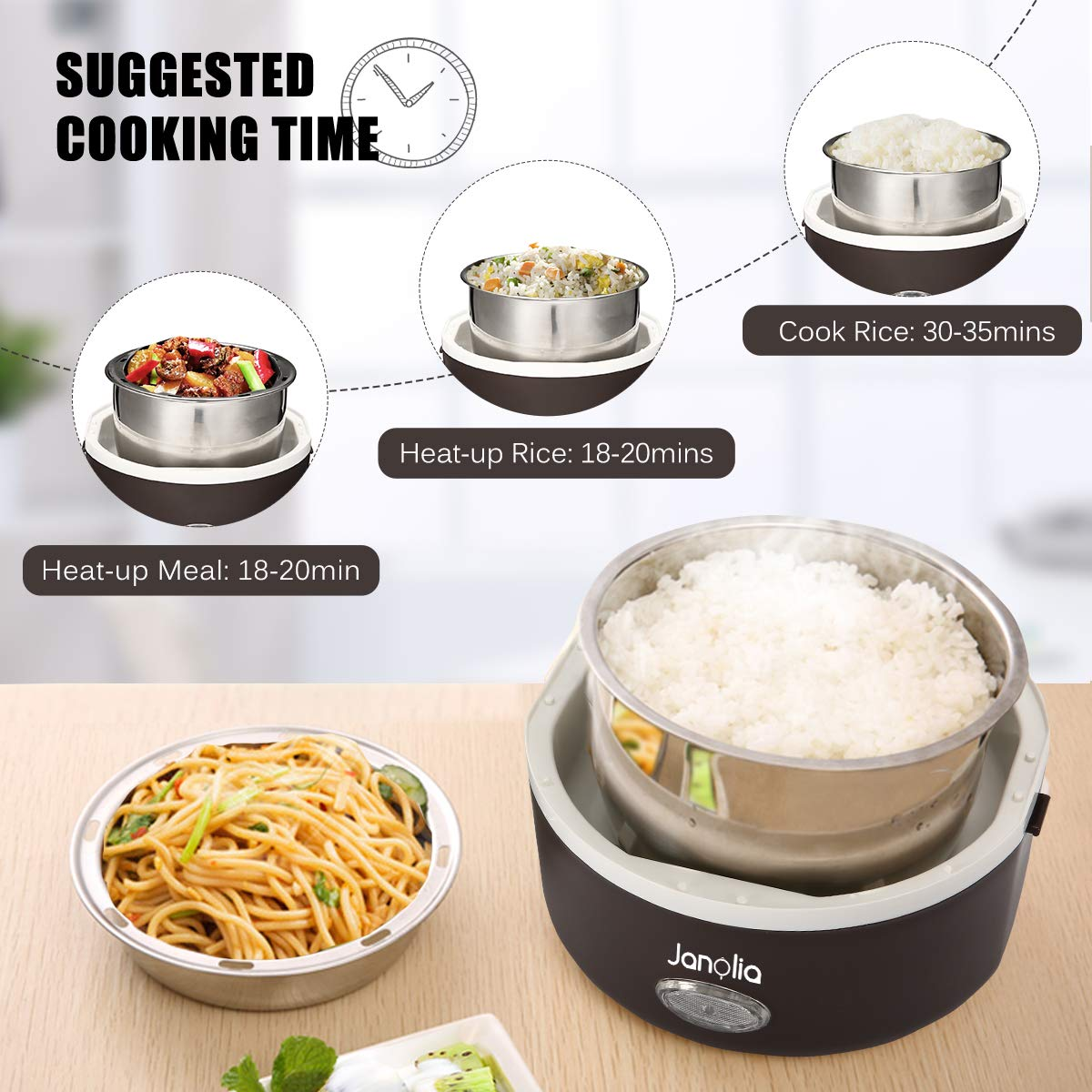 Janolia Electric Food Steamer, Portable Lunch Box Steamer with Stainless Steel Bowls, Measuring Cup by Janolia (Image #6)