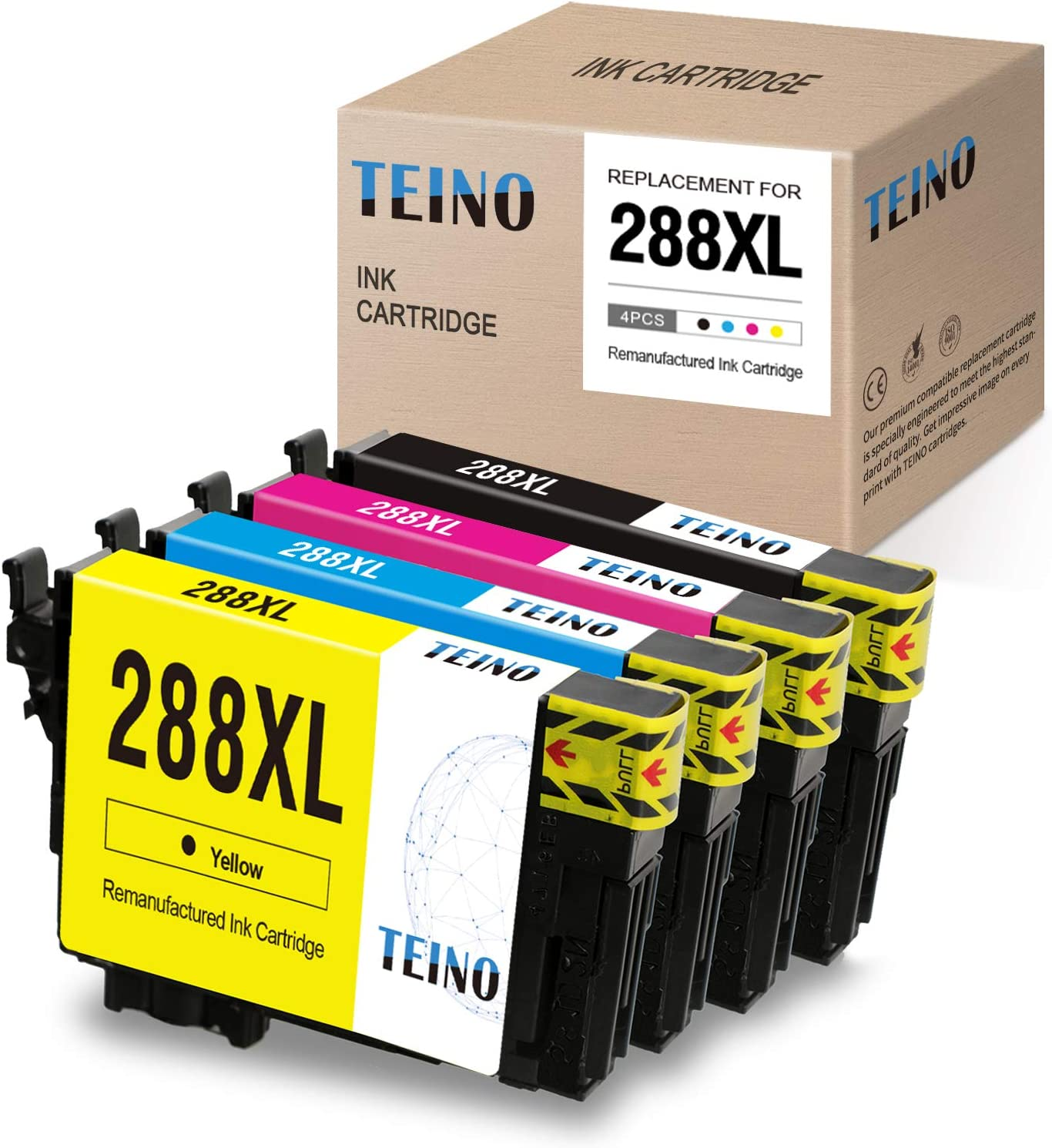 TEINO Remanufactured Ink Cartridges Replacement for Epson 288 XL 288XL use with Epson Expression Home XP-340 XP-440 XP-446 XP-430 (Black, Cyan, Magenta, Yellow, 4-Pack)