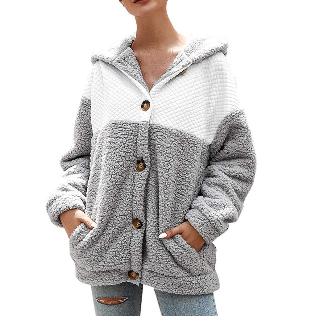 Dainzuy Women Fleece Hooded Long Sleeve Fuzzy Sherpa Loose Warm Winter Two Pockets Button Coat Jacket Outwear Gray by Dainzuy Women Winter Clothes