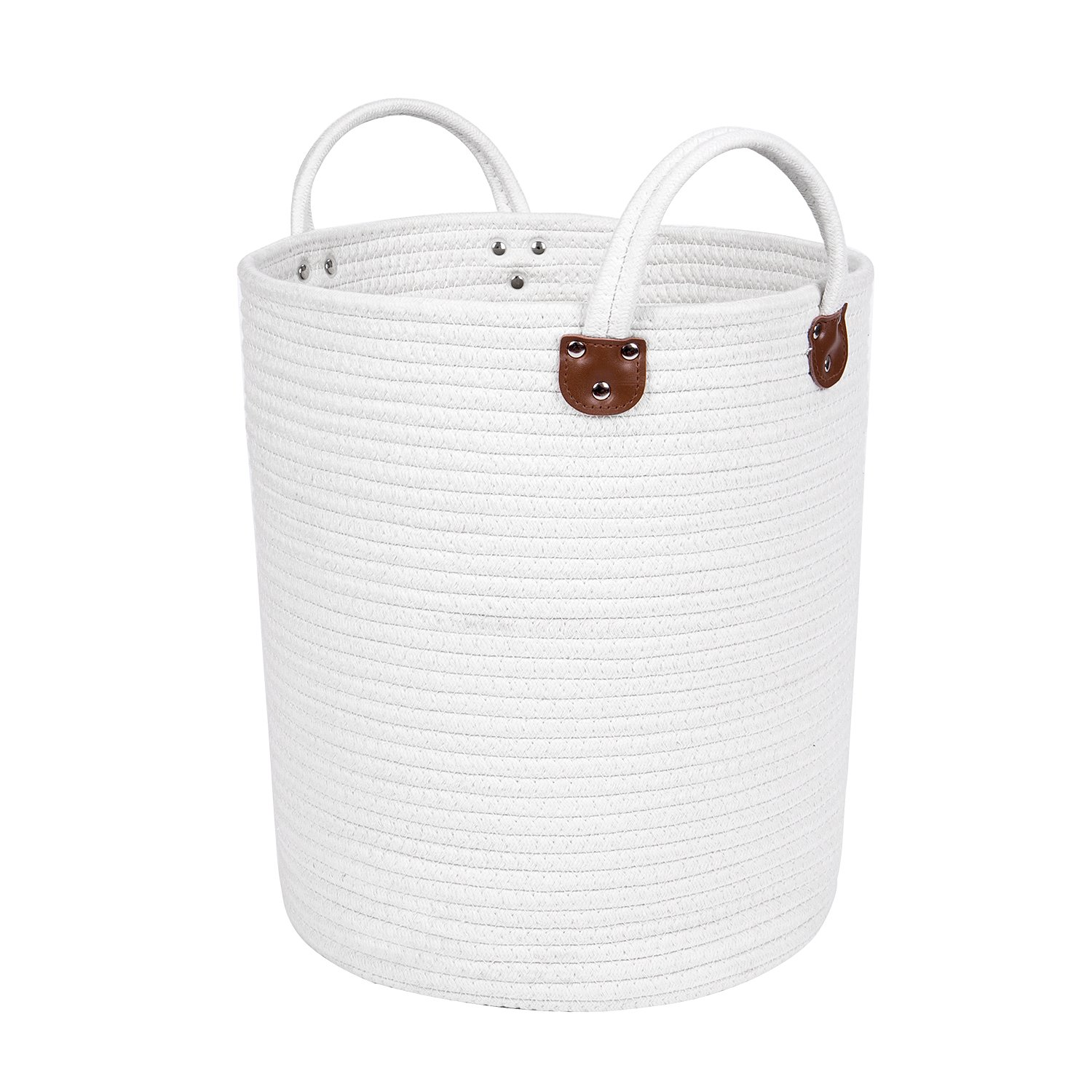 Woven Cotton Rope Storage Basket - 15'' x 13'' Medium-sized Natural Home Decor Baskets with Leather Handles for Organizing Blankets, Towels, Laundry, Toys - White