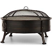Blumfeldt Catania • Brasero 2-en-1 • Barbecue • Foyer Ø 80 cm • Grille de cuisson: 70 cm • Pare-étincelles amovible • Acier • Avec poignées • Peinture résistante à la chaleur au look de métal bruni
