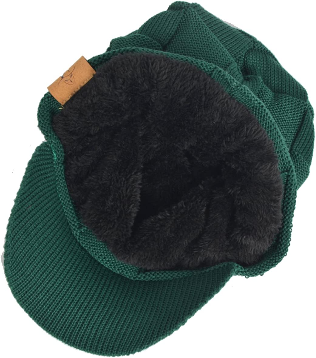 Plaid Newsboy Knitted Beanie Hat with Visor Bill Winter Warm Hat for Men B322