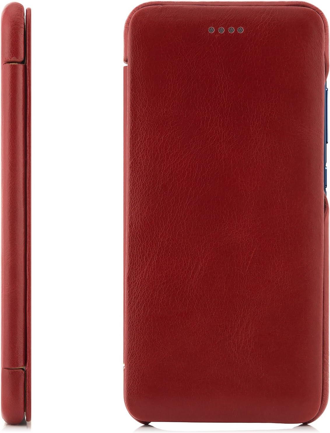 Surface Lisse S/érie Vintage Incurv/ée Rouge zanasta Coque Cuir Huawei P10 Housse de Protection Cuir V/éritable Portefeuille /Étui /à Rabat Ultra Mince avec Fermeture Magn/étique
