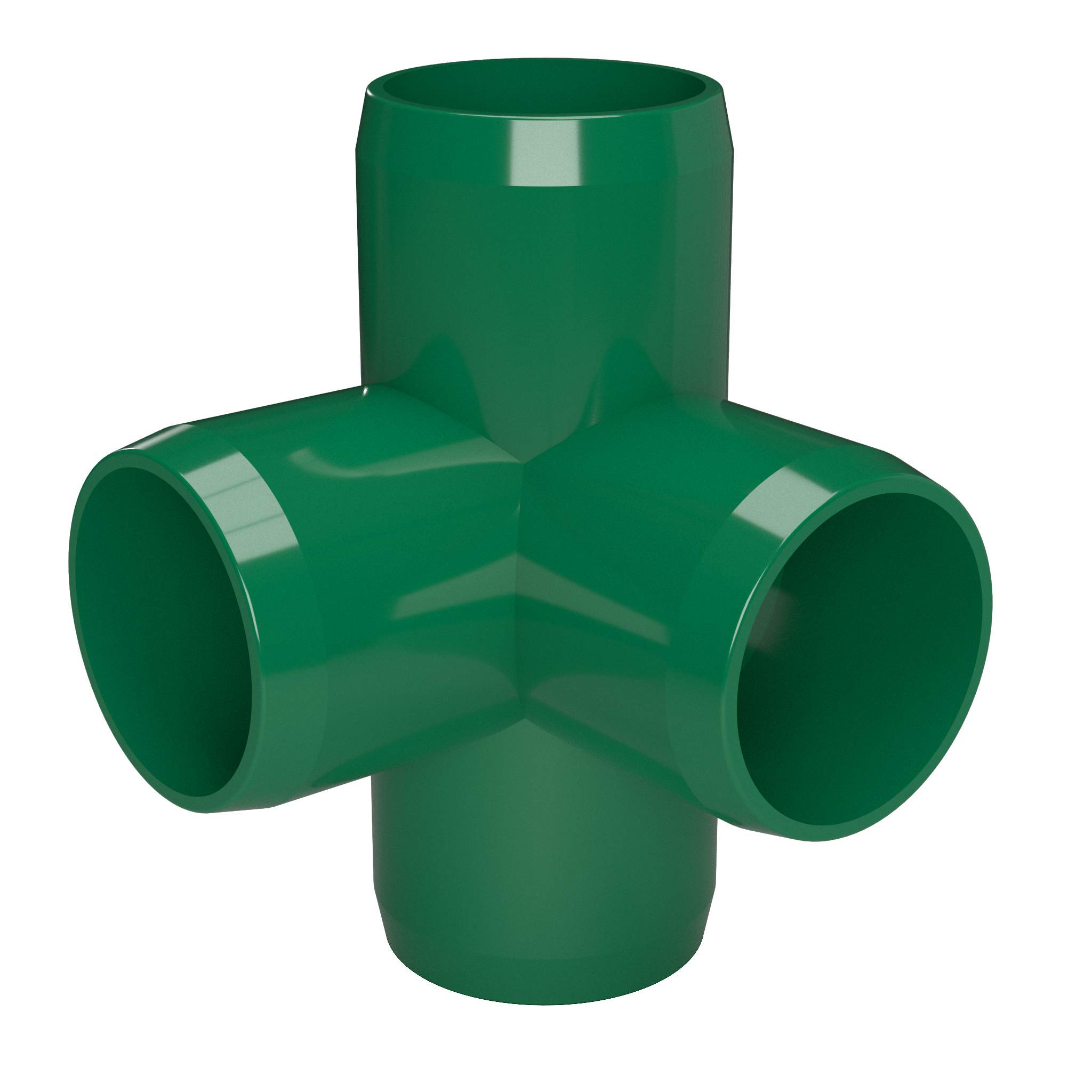 FORMUFIT F1144WT-GR-4 4-Way Tee PVC Fitting, Furniture Grade, 1-1/4'' Size, Green (Pack of 4) by FORMUFIT (Image #3)