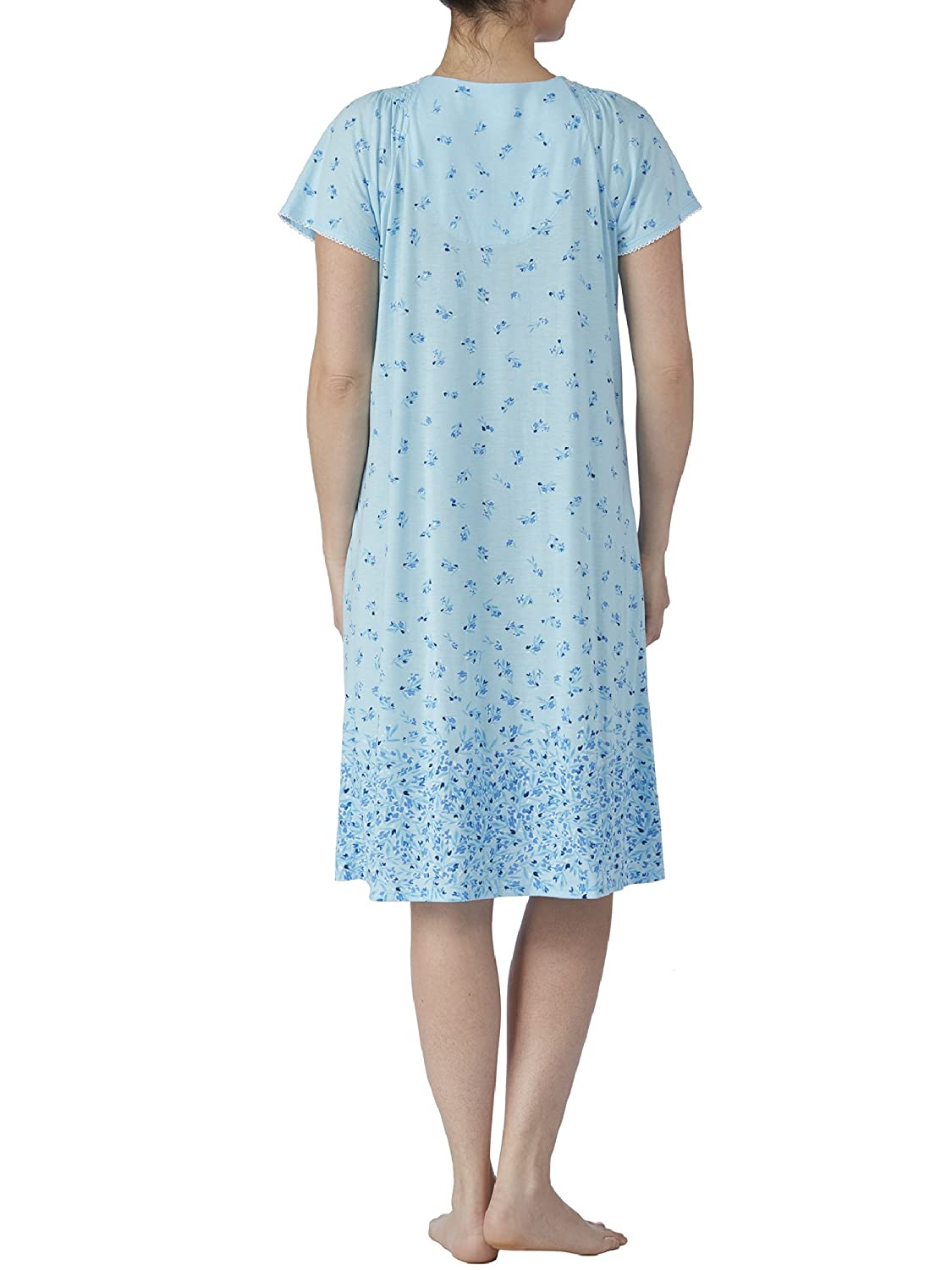 Secret treasures light aqua blue floral print short sleeve gown nightgown  jpg 1125x1500 Light blue short e559868a0