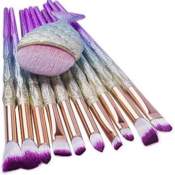 8bf067011878 Kaputar Pro Mermaid Glitter Rose Gold Makeup Brushes Set Powder ...