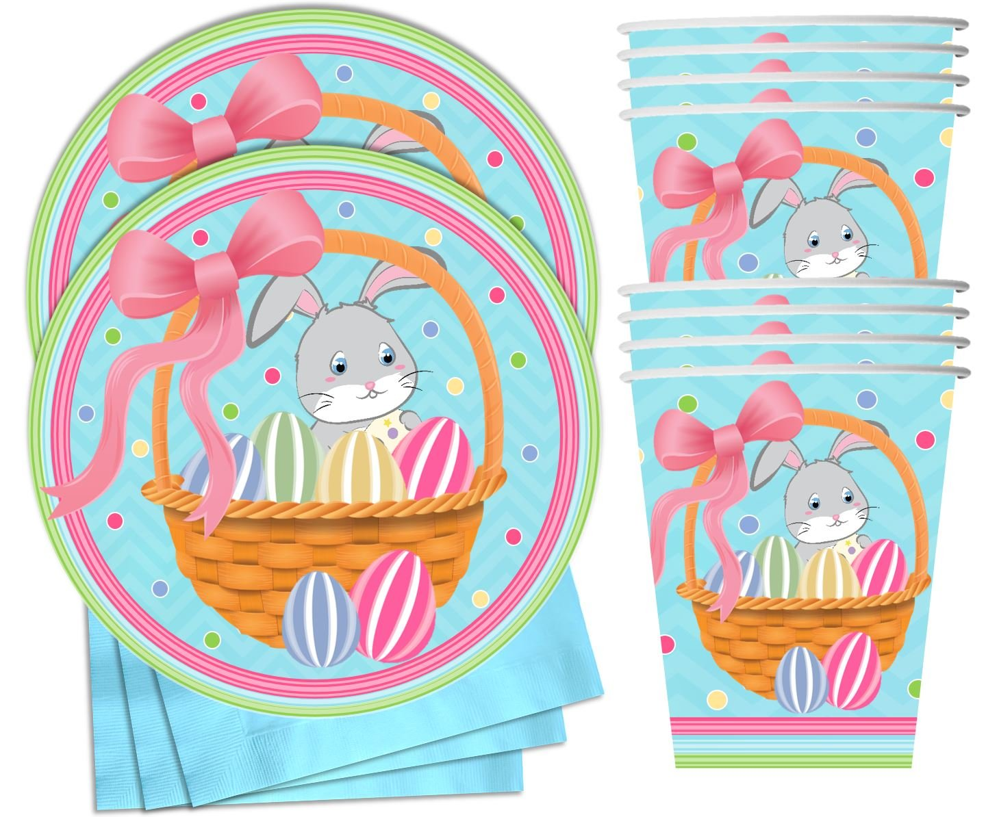 Perfect Easter Party Supplies and Easter Party Decorations! Cups Easter Party Supplies /& Decorations Easter Bunny Plates Napkins /& Forks for 16 People