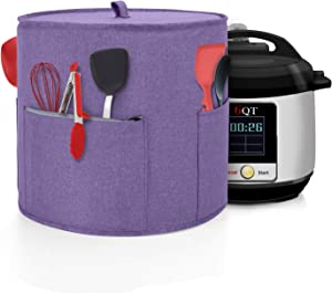 Yarwo Dust Cover Compatible with 6 qt Instant Pot, Cotton Canvas Cover with Pockets and Top Handle for 6 Quart Pressure Cooker and Kitchen Tools, Purple