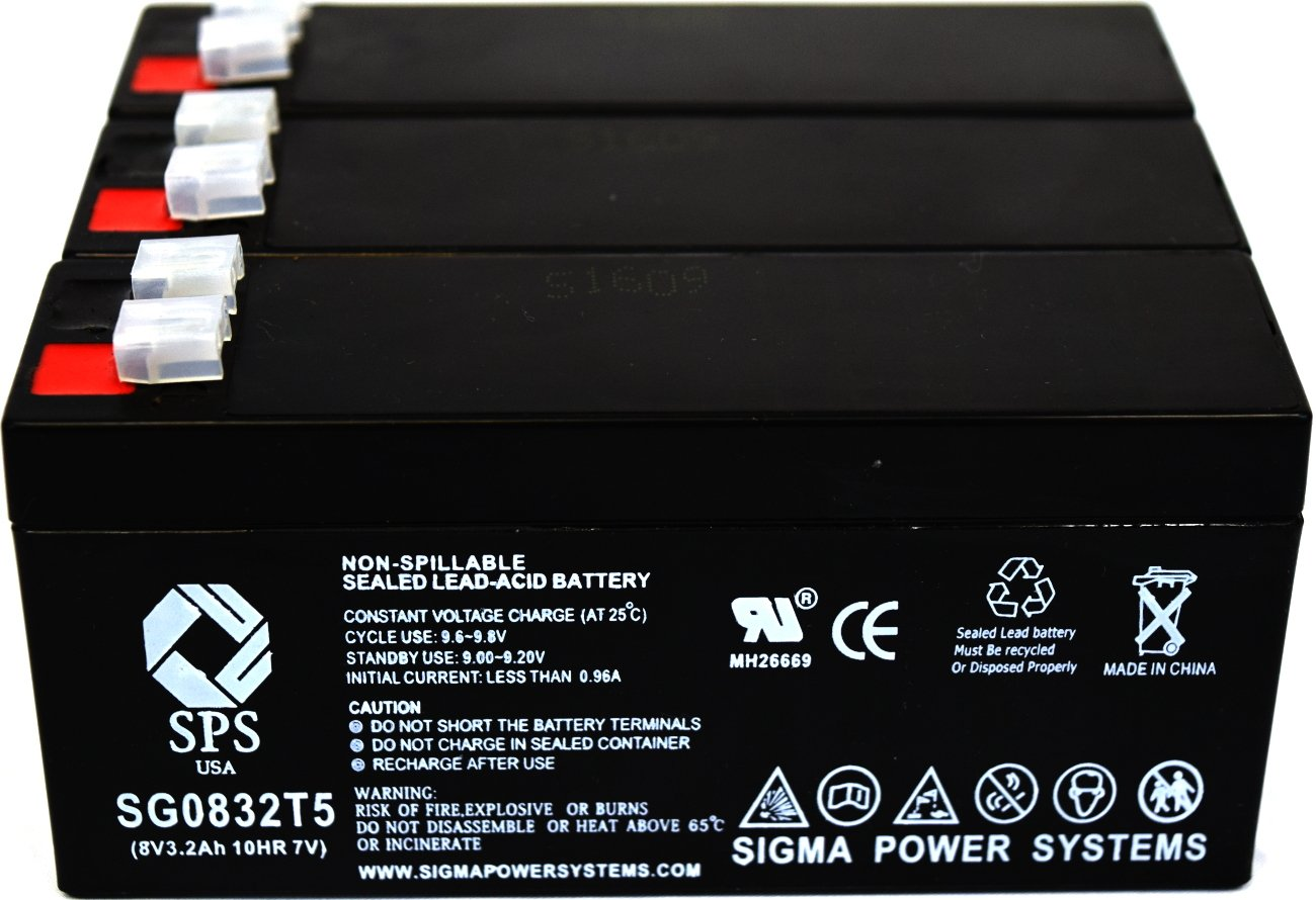 SPS Brand 8V 3.2 Ah Replacement Battery for Interstate Batteries ASLA0988 (3 Pack) by SPS