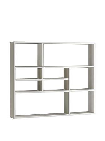 Estantería de Pared de estantería de Libros de Espacio de Almacenamiento de estantería Mika de Colour Blanco FMD: Amazon.es: Hogar