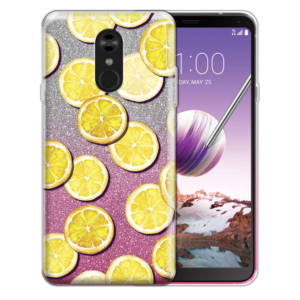 FINCIBO Case Compatible with LG Stylo 4, Shiny Sparkling Silver Pink Gradient 2 Tone Glitter TPU Protector Cover Case for LG Stylo 4 - Lemon Slice Pattern