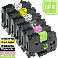 ASprinte 6PK 12mm Color Combo Label Tape Compatible Brother TZe-131 TZe-231 TZe-335 TZe-631 TZe-MQP35 TZe-MQG35 P Touch Label Maker 8m Pink Lemon Green