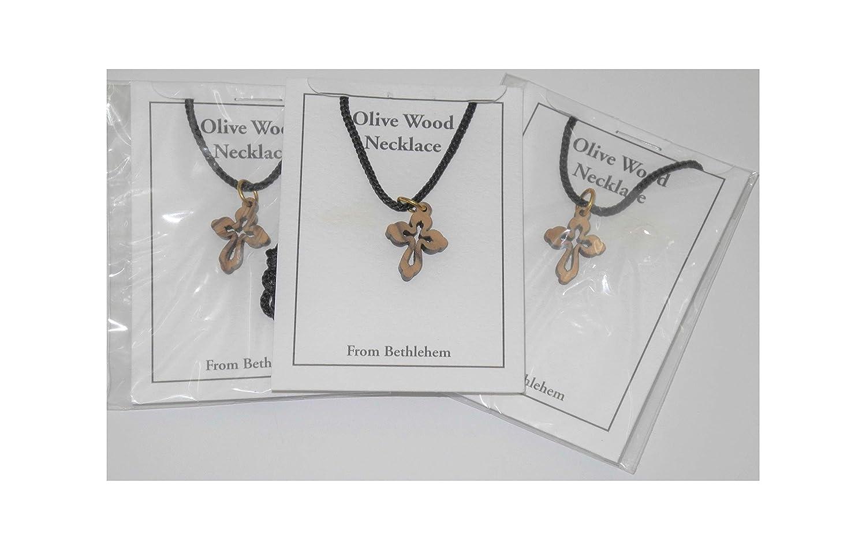 6 Cross Pendant Necklace Budded Style Cross Olive Wood Bethlehem Holy Land Crafts