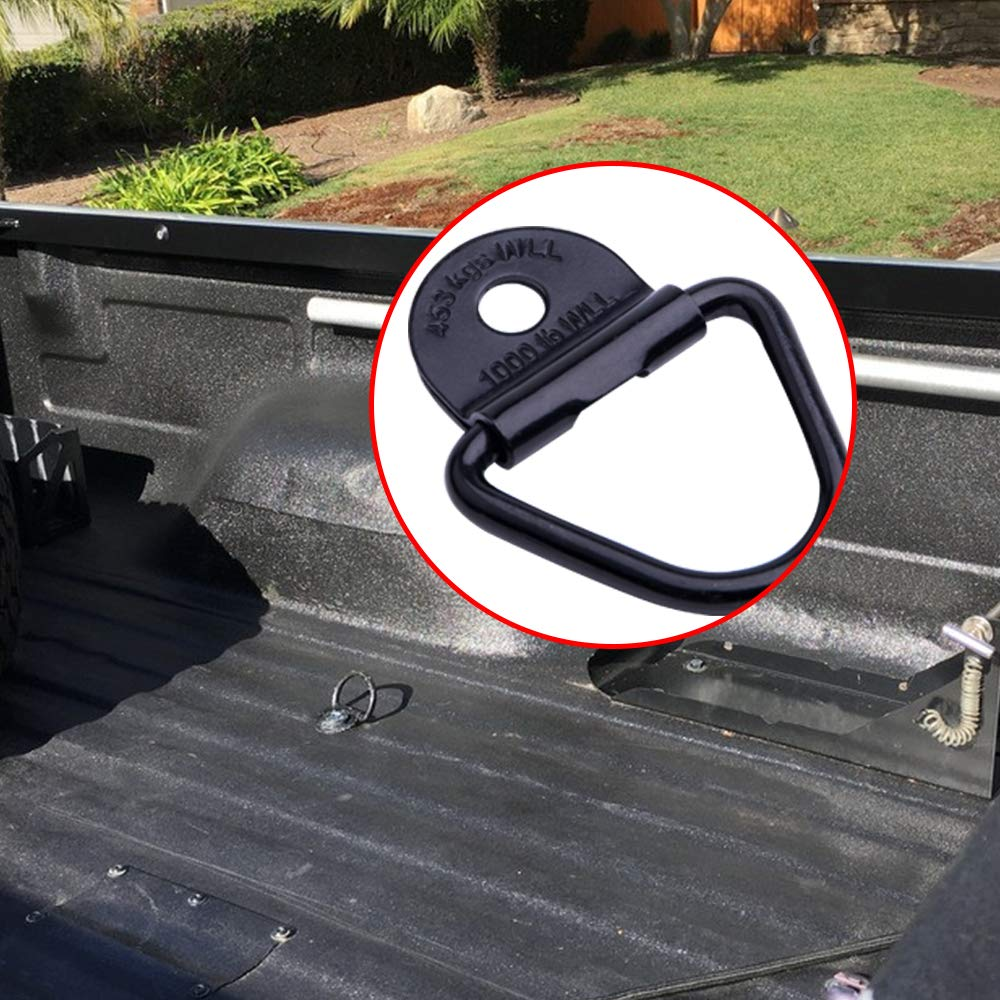 Sushiyi Tie Down Anchors for Cargo Trailer Pickups Boats /&Warehouse 5559014085 4 PCS 2 Black V-Ring Bolt On Tie-Down Hooks with Surface Flush Mount Clip- Load Anchor Point Lashing Ring for Trucks Garage