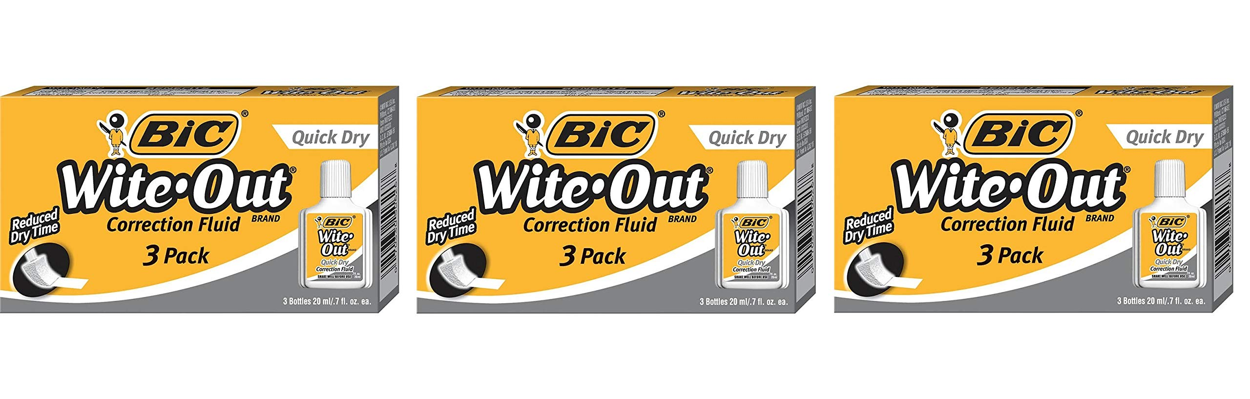 BIC Wite-Out Quick Dry Correction Fluid 20ml Bottle, 3 Pack (3 Bottles)
