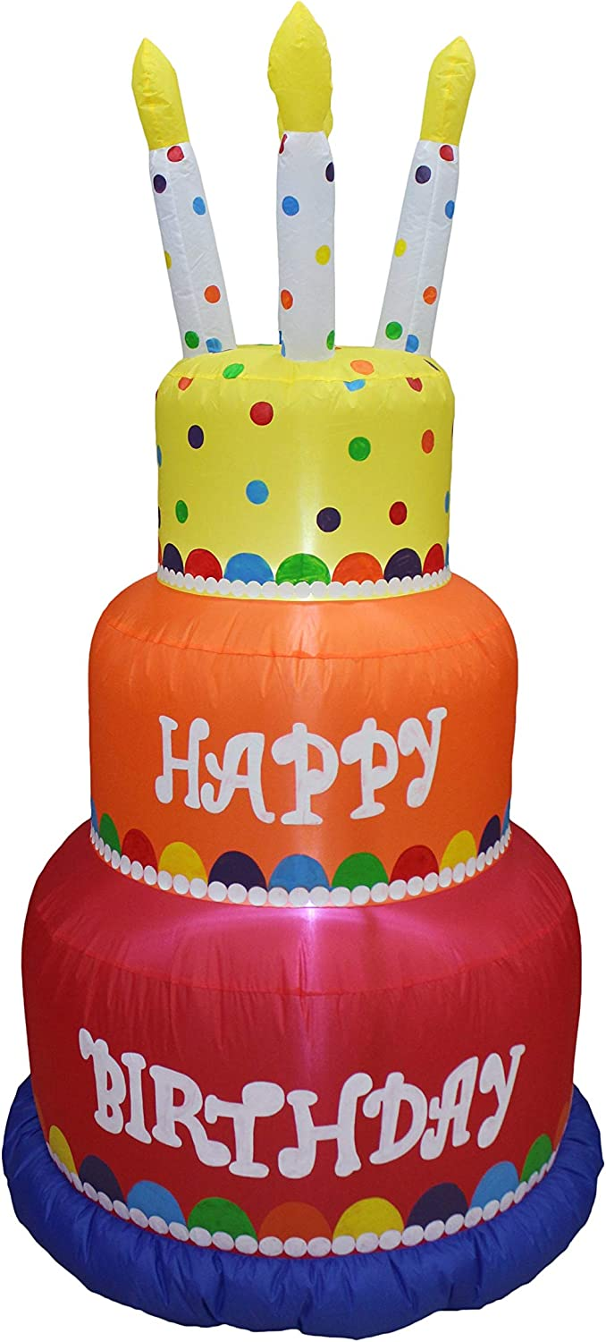 6 Foot Tall Happy Birthday Cake Inflatable with Candles Lighted Blowup Party Decoration for Outdoor Indoor Home Celebration Garden Yard Prop