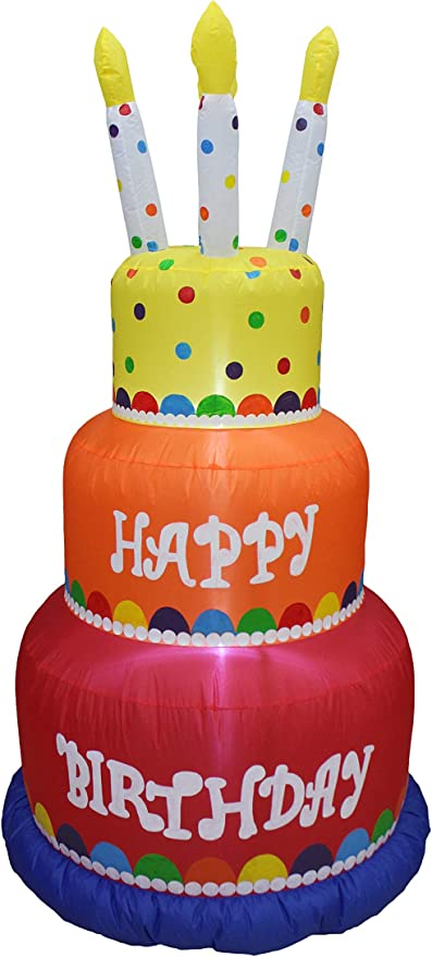 Pleasing Amazon Com 6 Foot Tall Happy Birthday Inflatable With Candles Funny Birthday Cards Online Unhofree Goldxyz