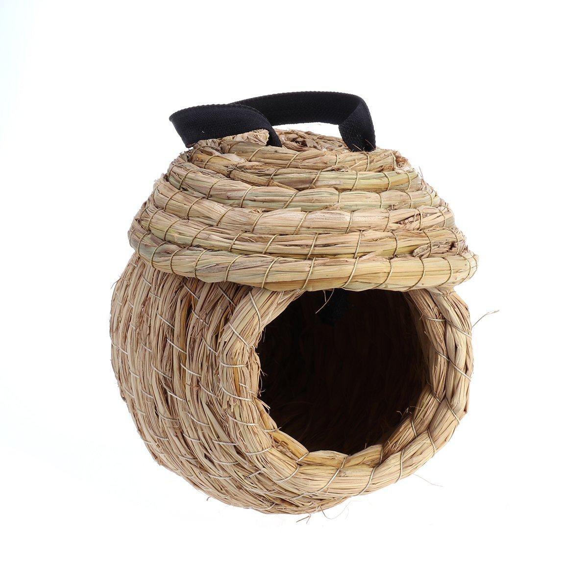 UEETEK Straw Bird Nest Bird House Hut Parrot Hammock Hamster Gerbil Small Animal House Bed
