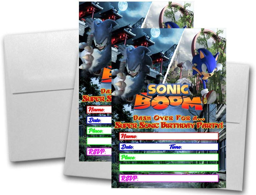 Amazon Com Crafting Mania Llc 12 Blue Hedgehog Birthday Invitation Cards 12 White Envelops Included Toys Games