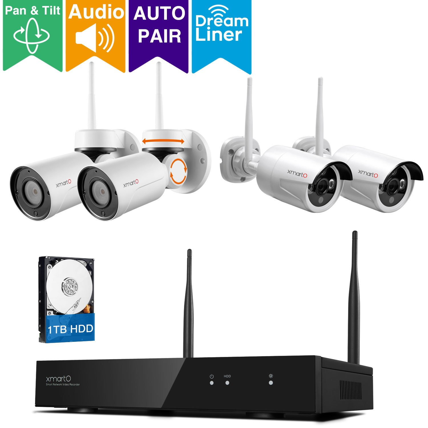 [Dream Liner WiFi Relay] xmartO 8 Channel 960p HD Wireless Security Camera System with