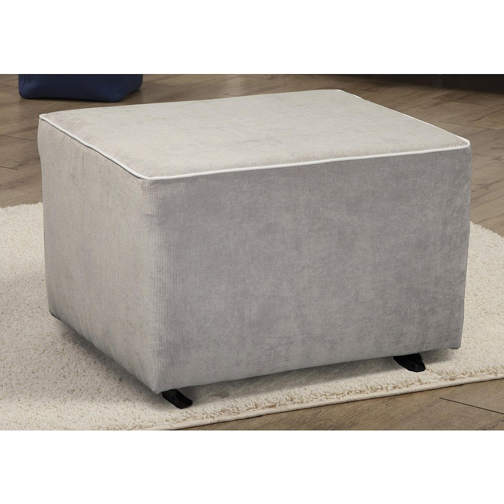 amazoncom kacy collection morgan gliding ottoman crushed silver with white contrast piping kacy collection morgan nursery swivel glider baby