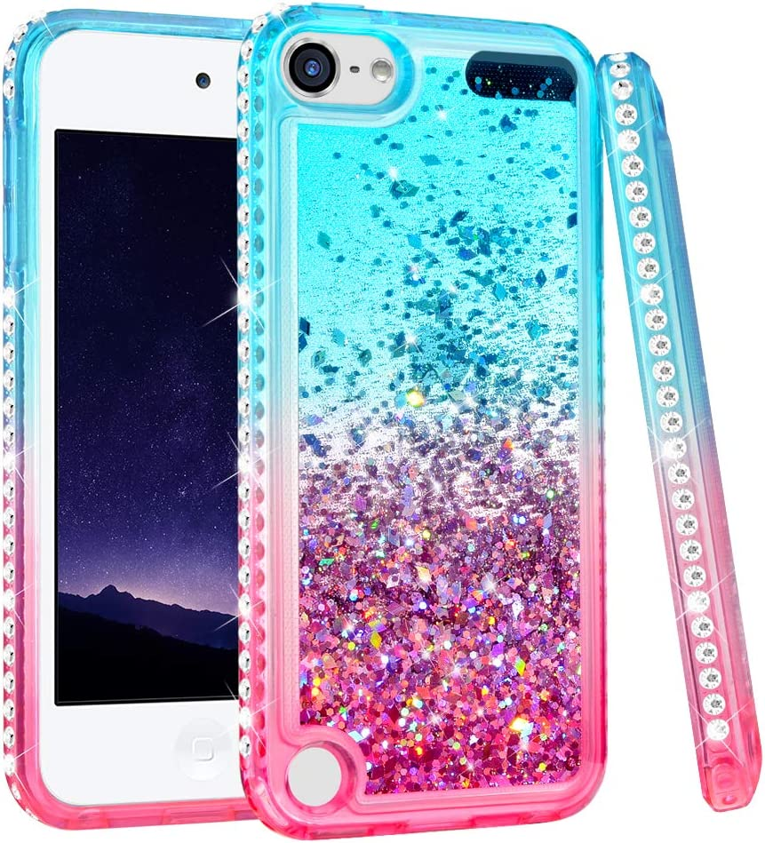 iPod Touch 5 6 7 Case, iPod Touch Case 5th 6th 7th Generation for Girls, Ruky Quicksand Series Glitter Flowing Liquid Floating Bling Diamond Flexible TPU Cute Case for iPod Touch 5 6 7 (Teal Pink)