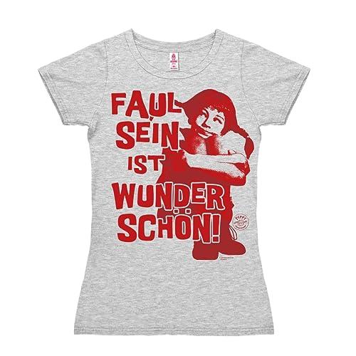 Logoshirt Camiseta para mujer Pippi Calzaslargas - Ser Perezoso - Pippi Långstrump - Faul Sein - de ...