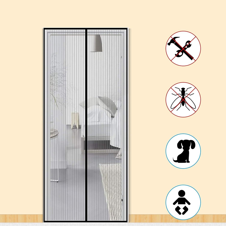 Mosquitera para puerta de Zalava, protección contra insectos, cortina magnética, mosquitera para puerta, puerta de balcón, salón, puerta de terraza, 100 x 210 cm/110 x 220 cm/120 x 240 cm/160 x 230 cm