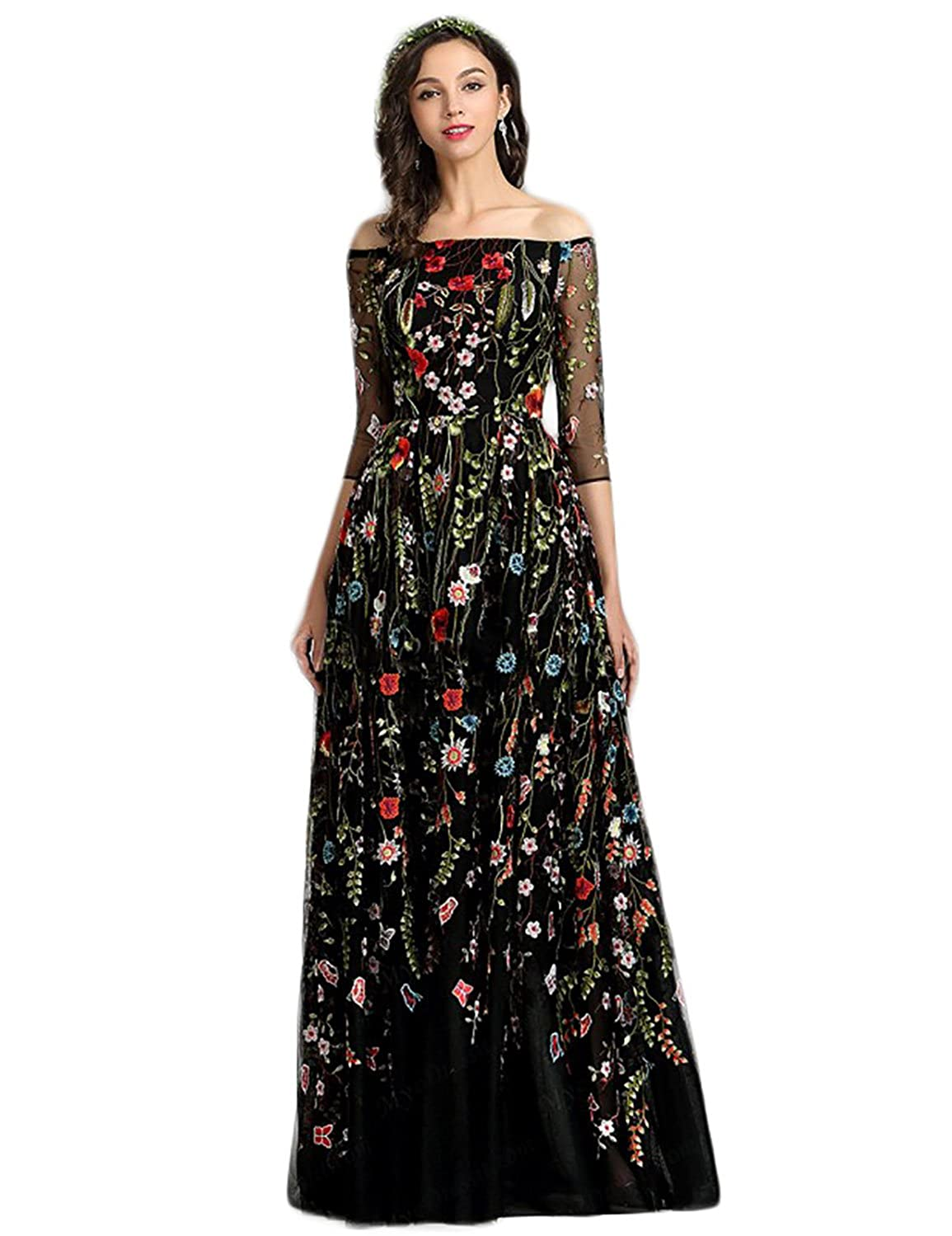 Blackoff Shoulder YMSHA Womens Long Embroidery Lace Prom Party Dress Backless Formal Evening Gown 28PM