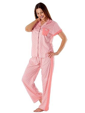 Inspirations Ladies Mia 100% Pure Cotton Summer Short Sleeve Long Pyjamas  LN432  Amazon.co.uk  Clothing dbaa3bd122cf