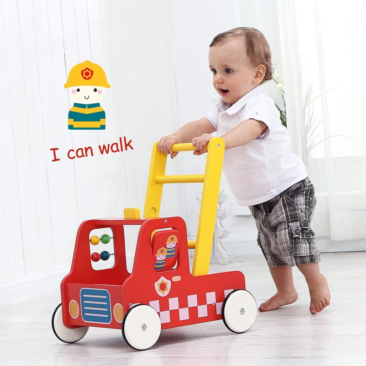 Cami/ón de Bomberos Rojo Andador de Madera//De Madera Labebe Andador de Madera Andador de Paseo Uso 2 en 1 como Carro Andador de Beb/é por 1-3 A/ños Andador Andador de Madera//Herramienta de Beb/é/…
